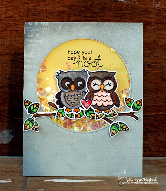 Owl Shaker card by Larissa Heskett | What a Hoot Stamp Set & Die Set by Newton's Nook Designs #newtonsnook