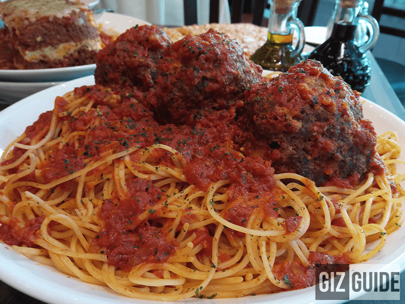 Giant meatballs close-up at Buca di Beppo Philippines