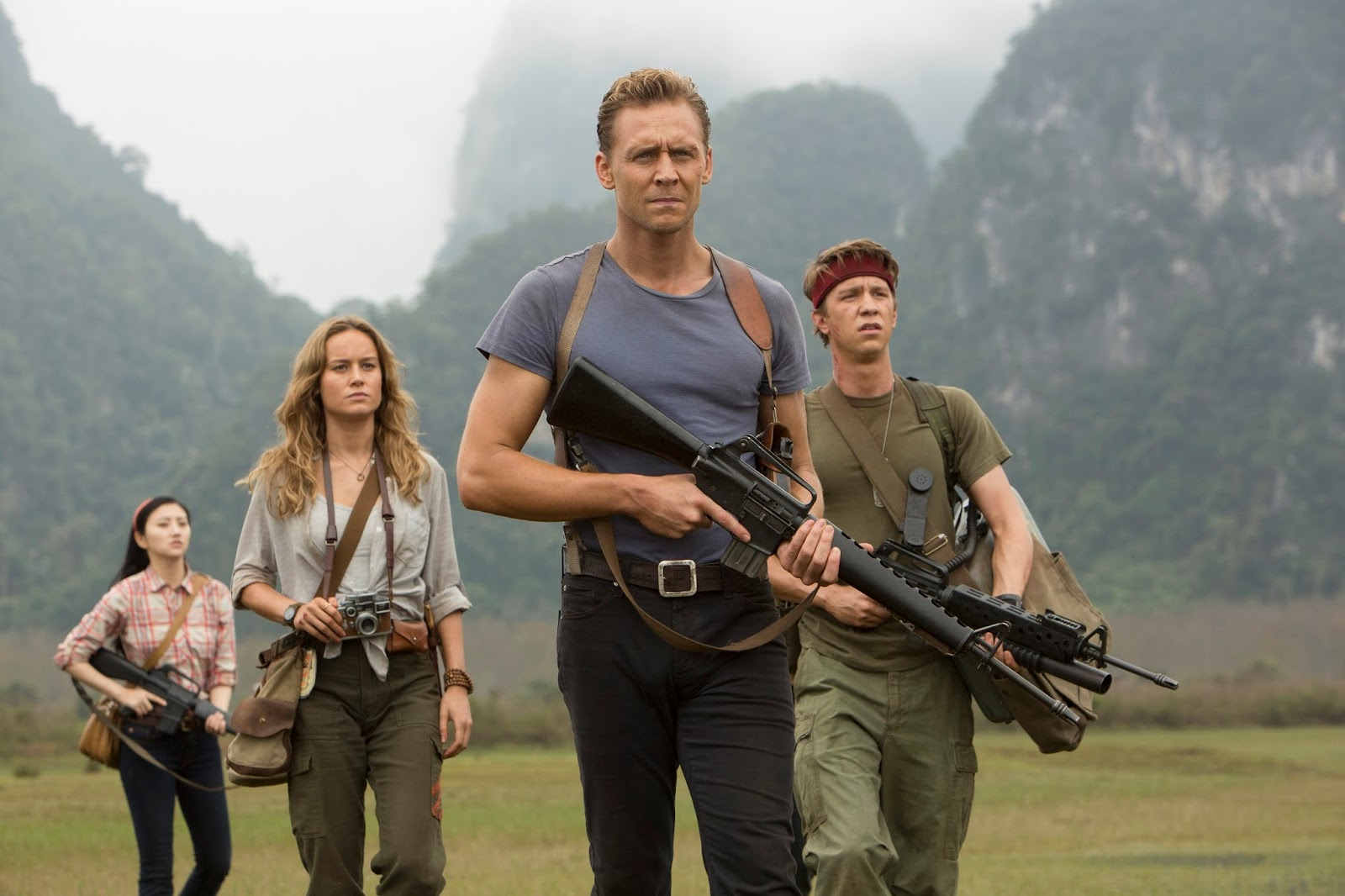 Tom Hiddleston (centre) and Brie Larson (second from left) star in Kong: Skull Island which was shot on location in Vietnam, Australia and Hawaii.