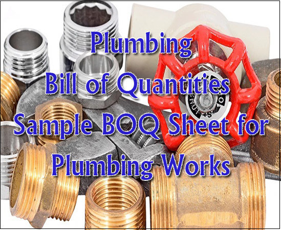 Plumbing Bill of Quantities - Sample BOQ Sheet for Plumbing Works