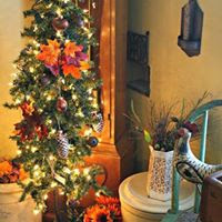 fall lighted tree, primitive Thanksgiving decorating