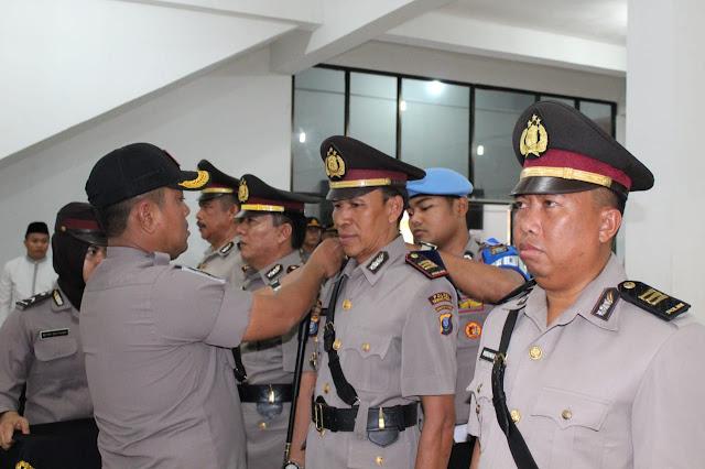Kapolres Asahan AKBP Faisal Napitupulu saat memimpin sertijab.