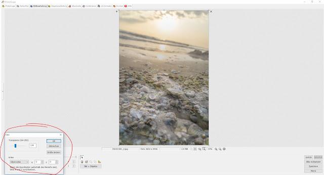 Photoscape Anleitung Bilder übereinanderlegen 5 Transparenz bestimmen