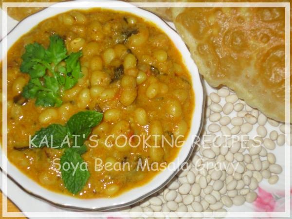 Soya Bean Lentils Masala Gravy Recipe - South Indian Style