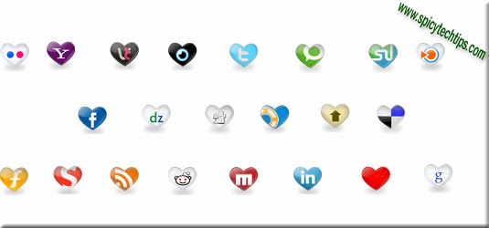 heart shape social icon set