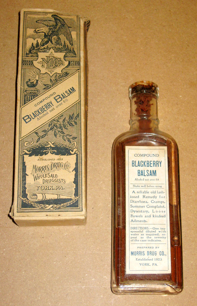 old glass bottle medicine - blackberry balsam
