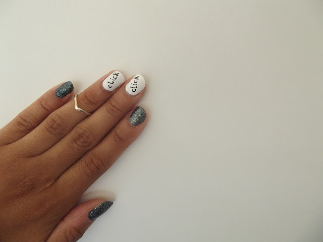 Nail art inspired by The Addams Family
