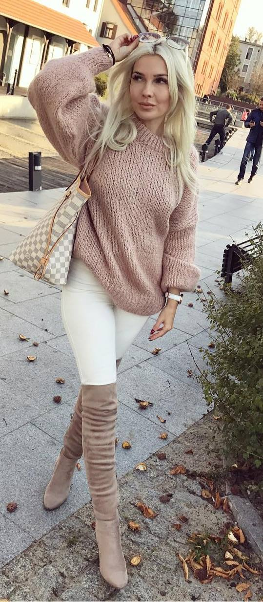 white and nude shades | knir sweater + skinnies + bag + over the knee boots