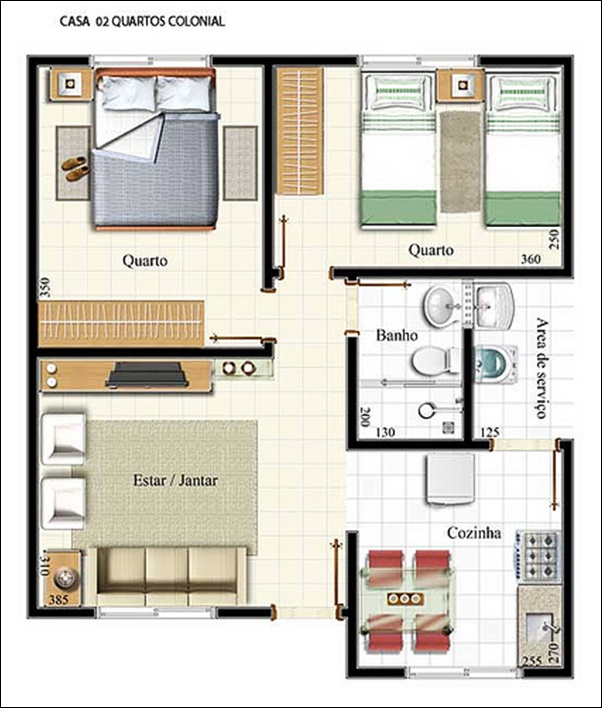 casa dois quartos colonial