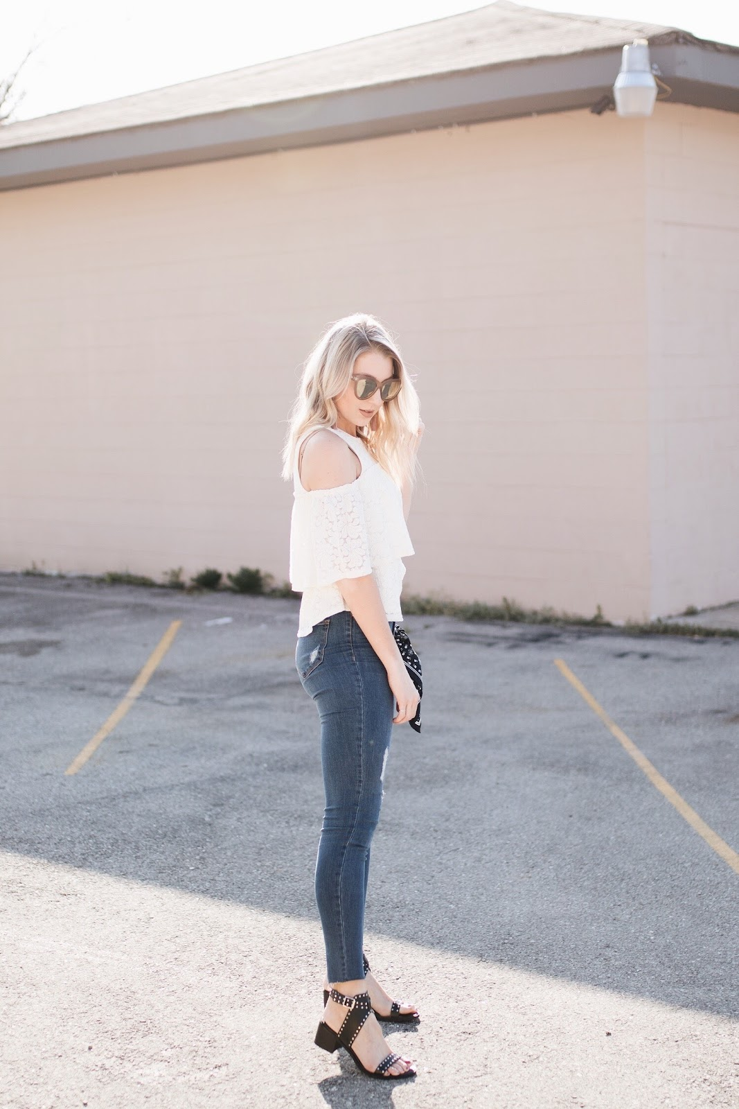 lace top with skinny jeans for spring