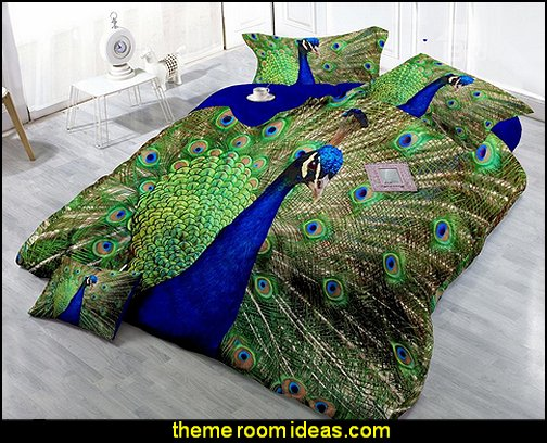 Peacock Digital Print 4-Piece Satin Cotton Duvet Cover Sets