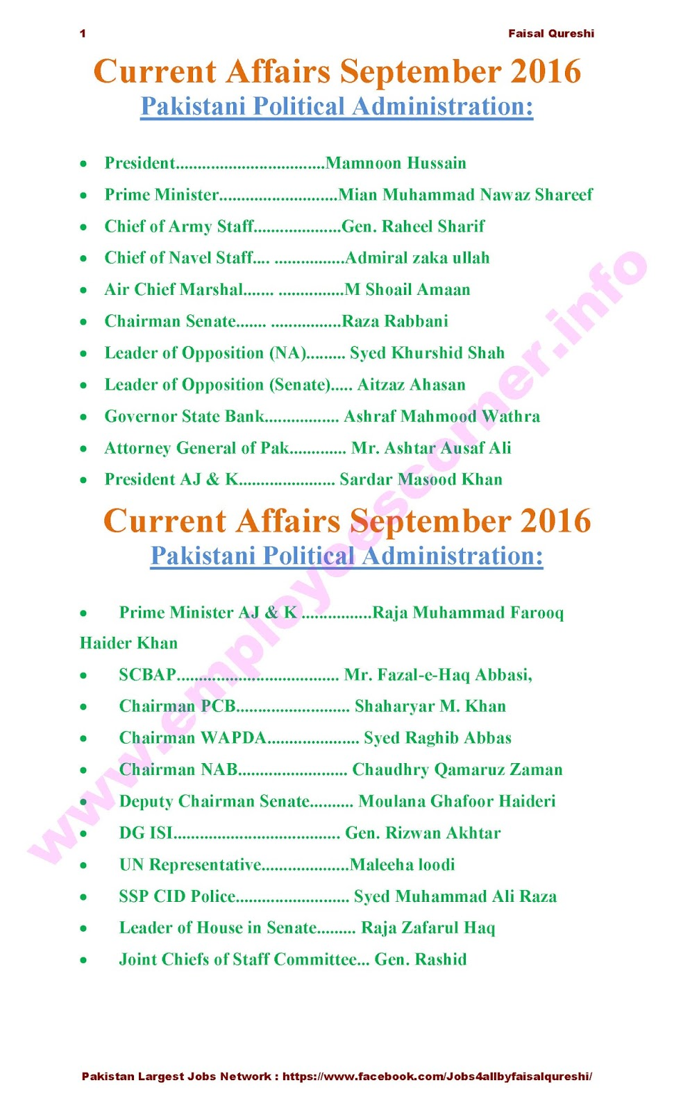 Political Current Affairs Pakistan Solved MCQs Past Papers