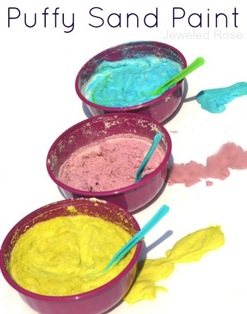 Homemade Puffy Sand Paint- Making the paint is so fun for kids, and it is great for sensory play and art activities!