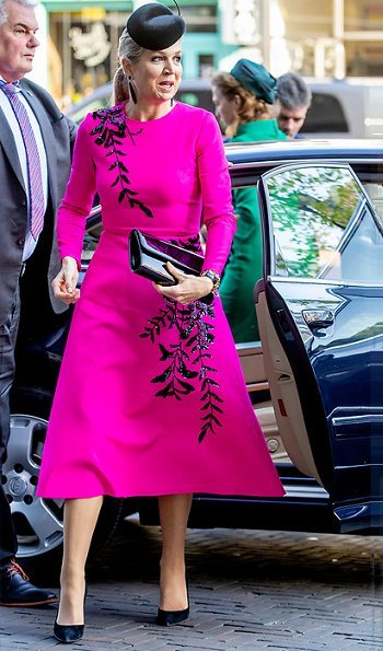 Queen Maxima wore Oscar De La Renta pink midi dress