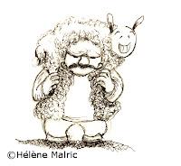 illustration encre berger mouton shepherd sheep