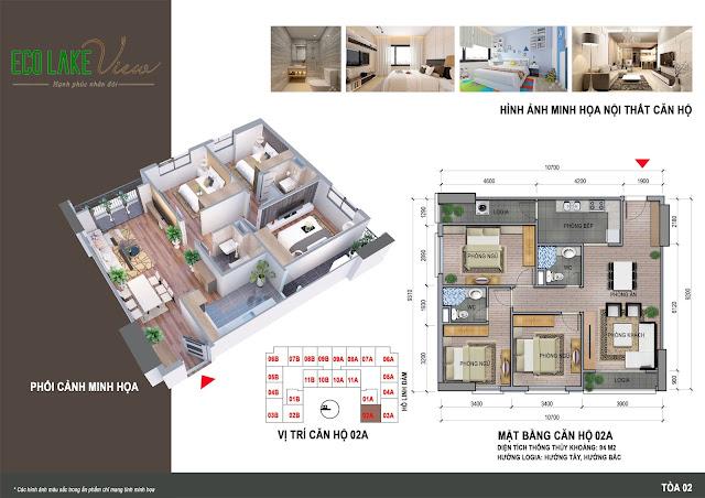 Thiết kế căn hộ 02A chung cư Eco Lake View