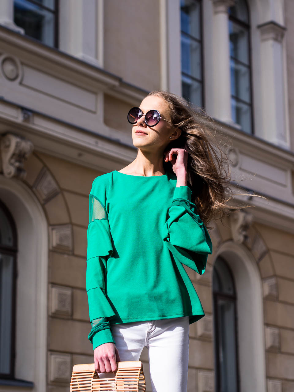 green-ruffle-shirt