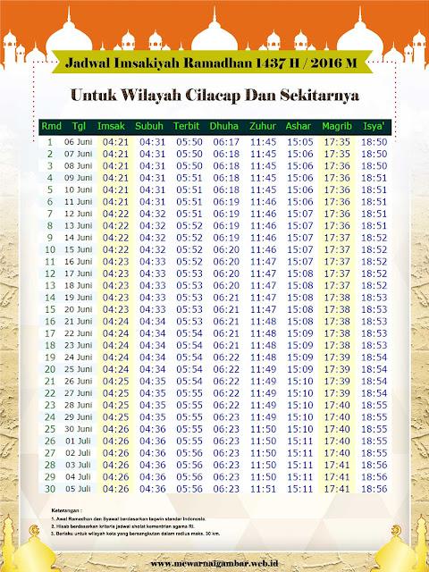 Jadwal Imsakiyah Ramadhan 1437 H / 2016 M Untuk Kota Cilacap