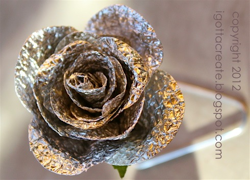 DIY #aluminum foil ROSE! | Great for #Valentine #Wedding #Shower #Anniversary #Mothers Day | Tutorial at I Gotta Create!