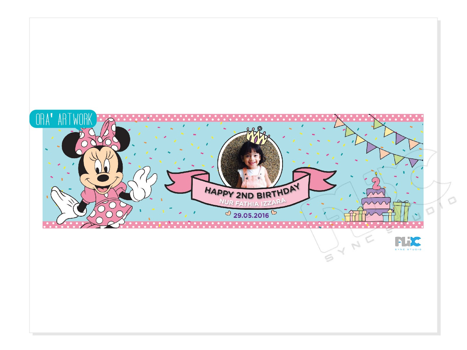 birthday party banner design with a theme of minnie mouse ora adzlin