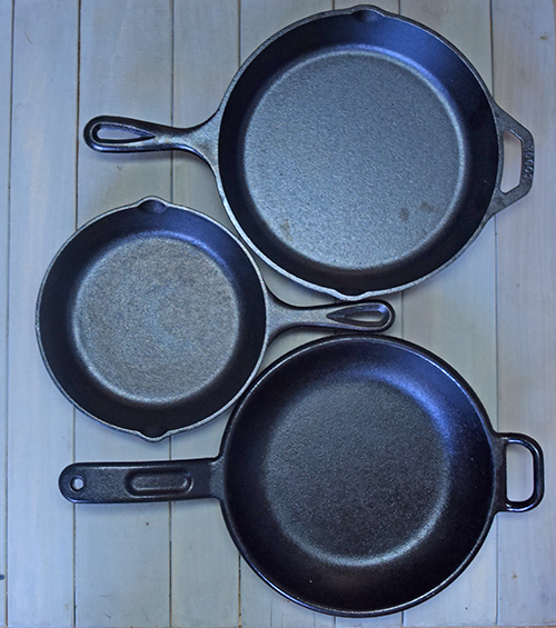 Lodge cast iron skillets that fit on a large Big Green Egg or kamado grill