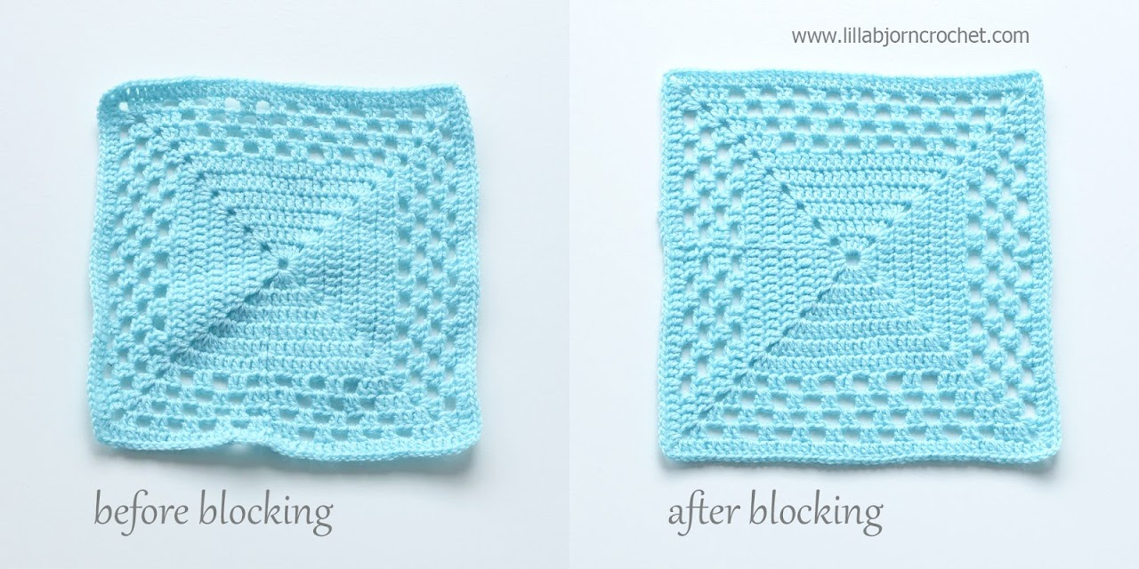 Wet blocking of crochet square: before and after