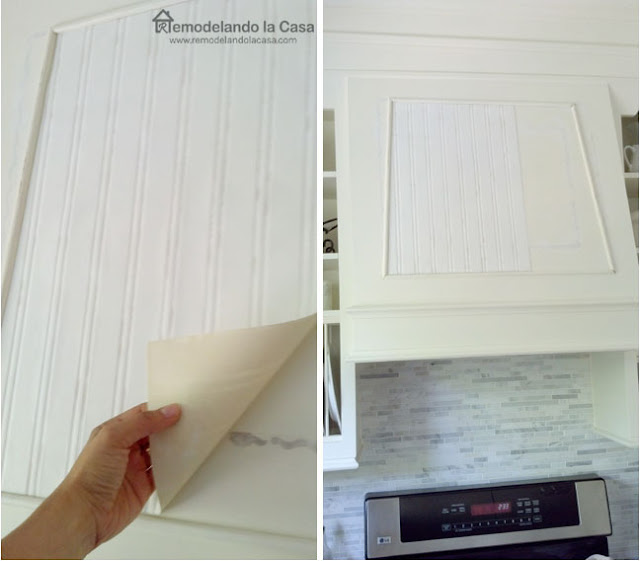 how to install wall paper on range hood