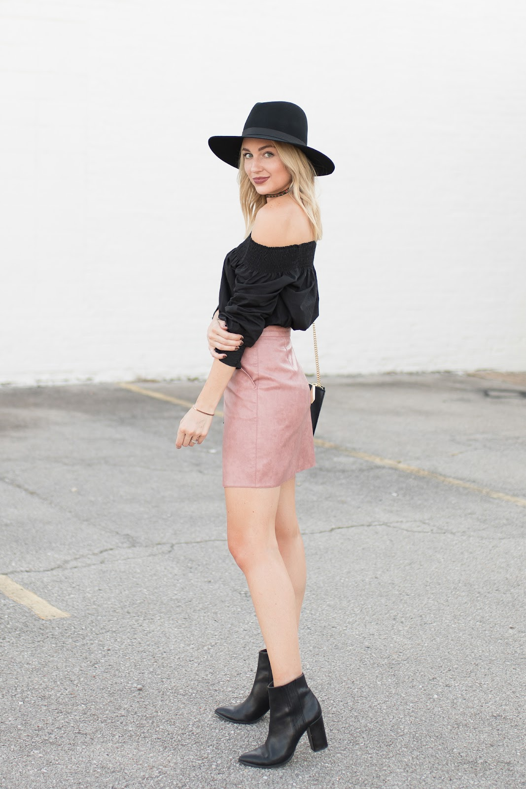 Off-the-shoulder top with a skirt