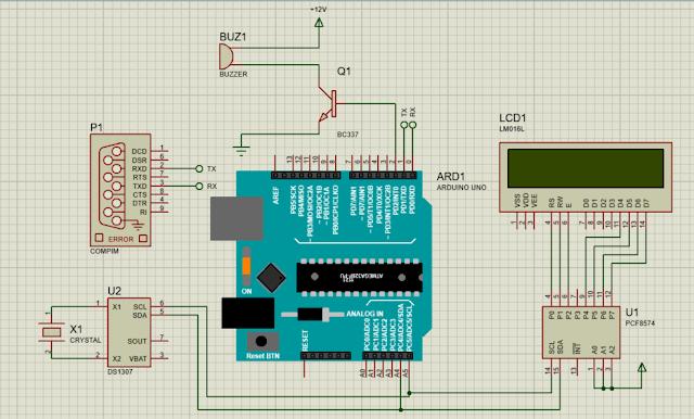 Simulasi Proteus Jam Alarm dengan Arduino dan DS1307