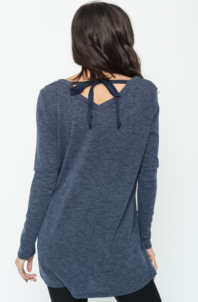 Buy Now Navy Back Ribbon Sweater Tunic (Final Sale) Online $24 -@caralase.com