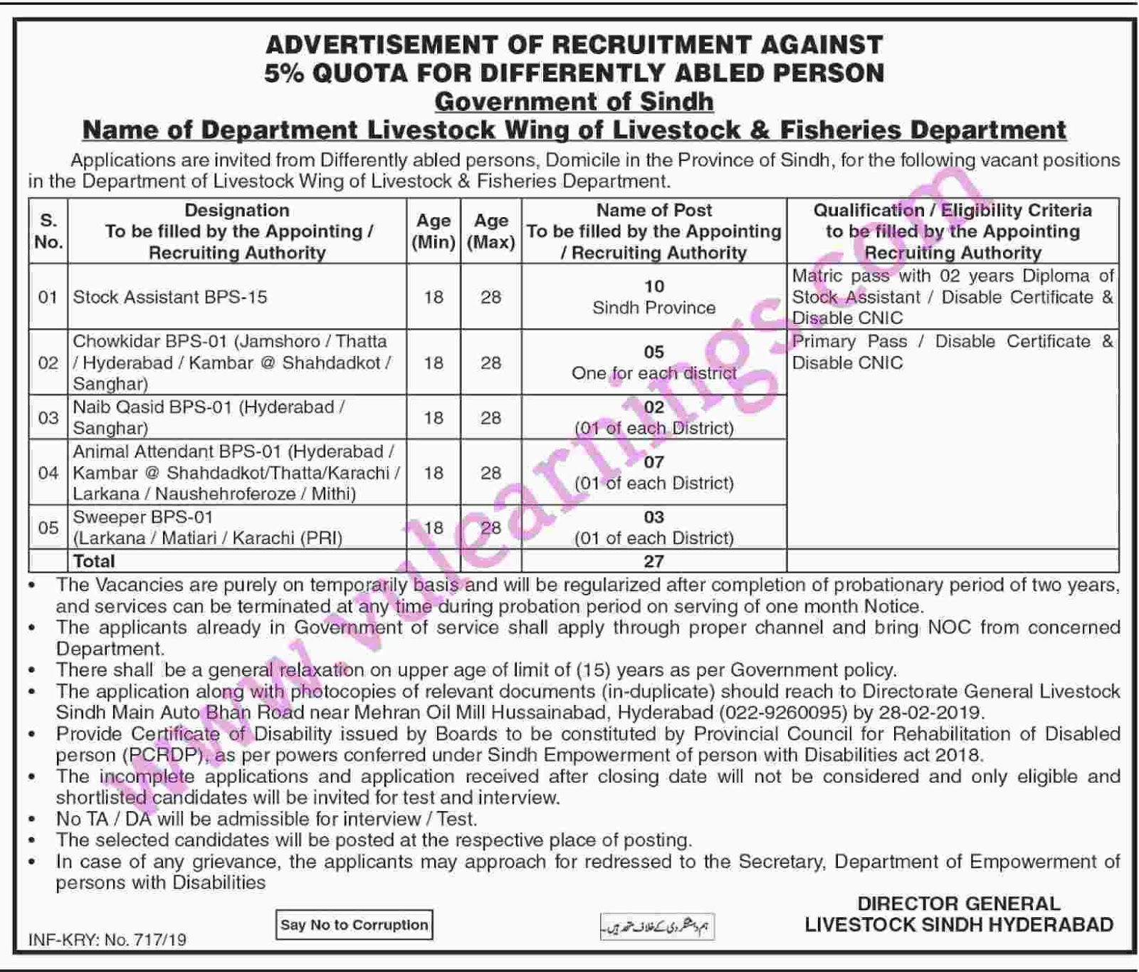 Job in Livestock & Fisheries Department