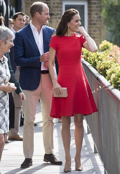 Kate Middleton and Prince William visit  YoungMinds Mental Health Charity Helpline, Kate Middleton wore L.K.Bennett Eugenia Skirted Dress