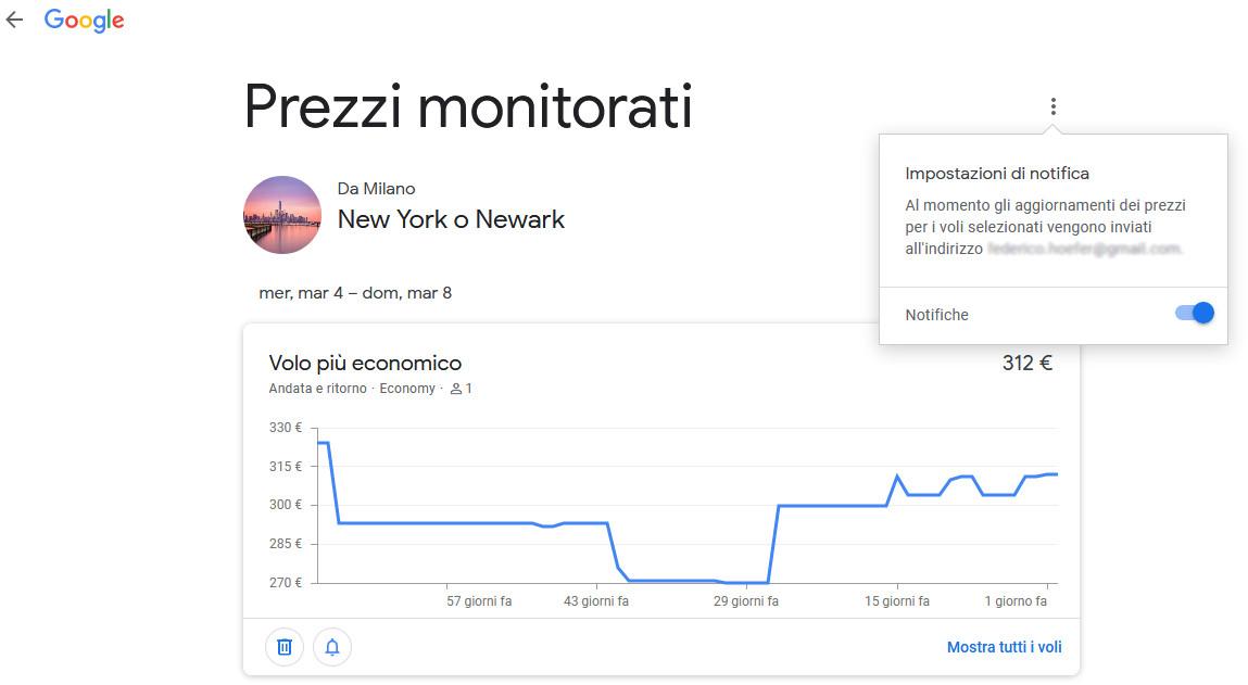 Impostazioni notifica prezzi voli Google