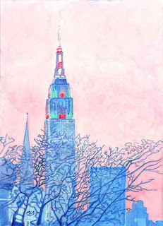 """Empire State Building From Greenpoint"" - Watercolor by Paul Sherman"