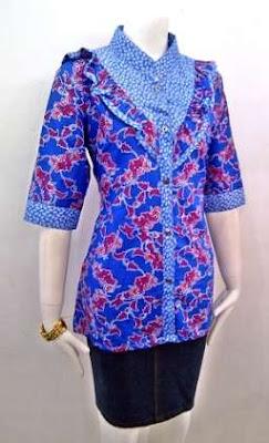 model baju batik kantor wanita kombinasi