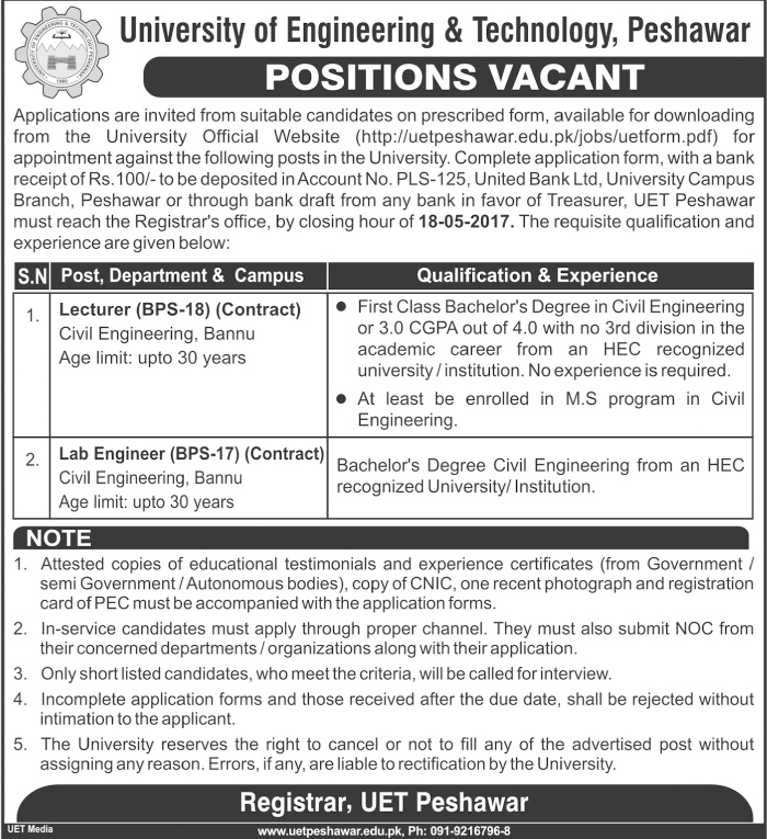 UET Jobs in University Of Engineering And Technology Peshawer 3 May 2017