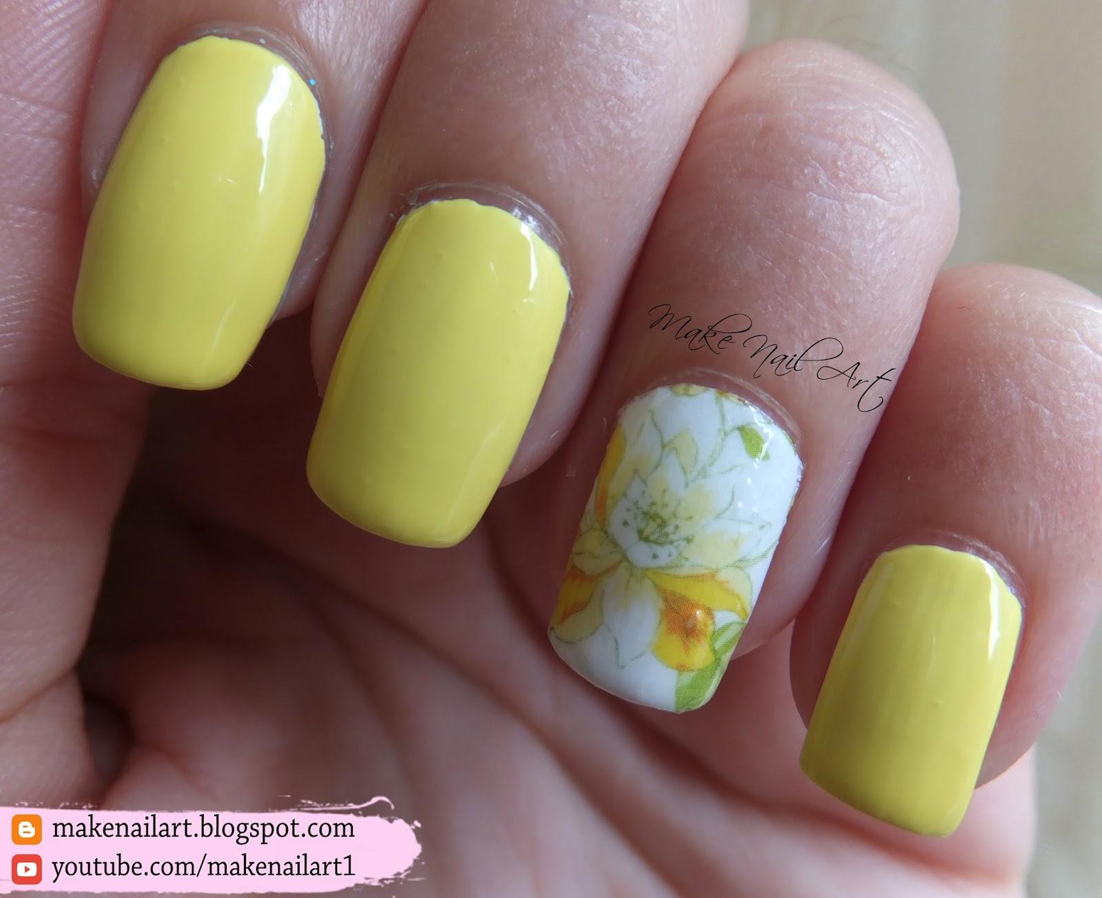 Make Nail Art: Yellow Flower Nail Art Design (31DC2016)