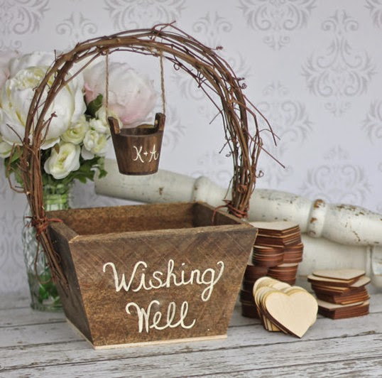 rustic country wedding wood basket with heart wood guest book