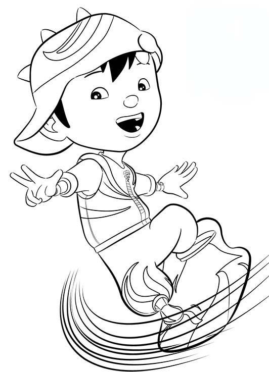 Tranh cho bé tô màu BoBoiBoy lướt ván