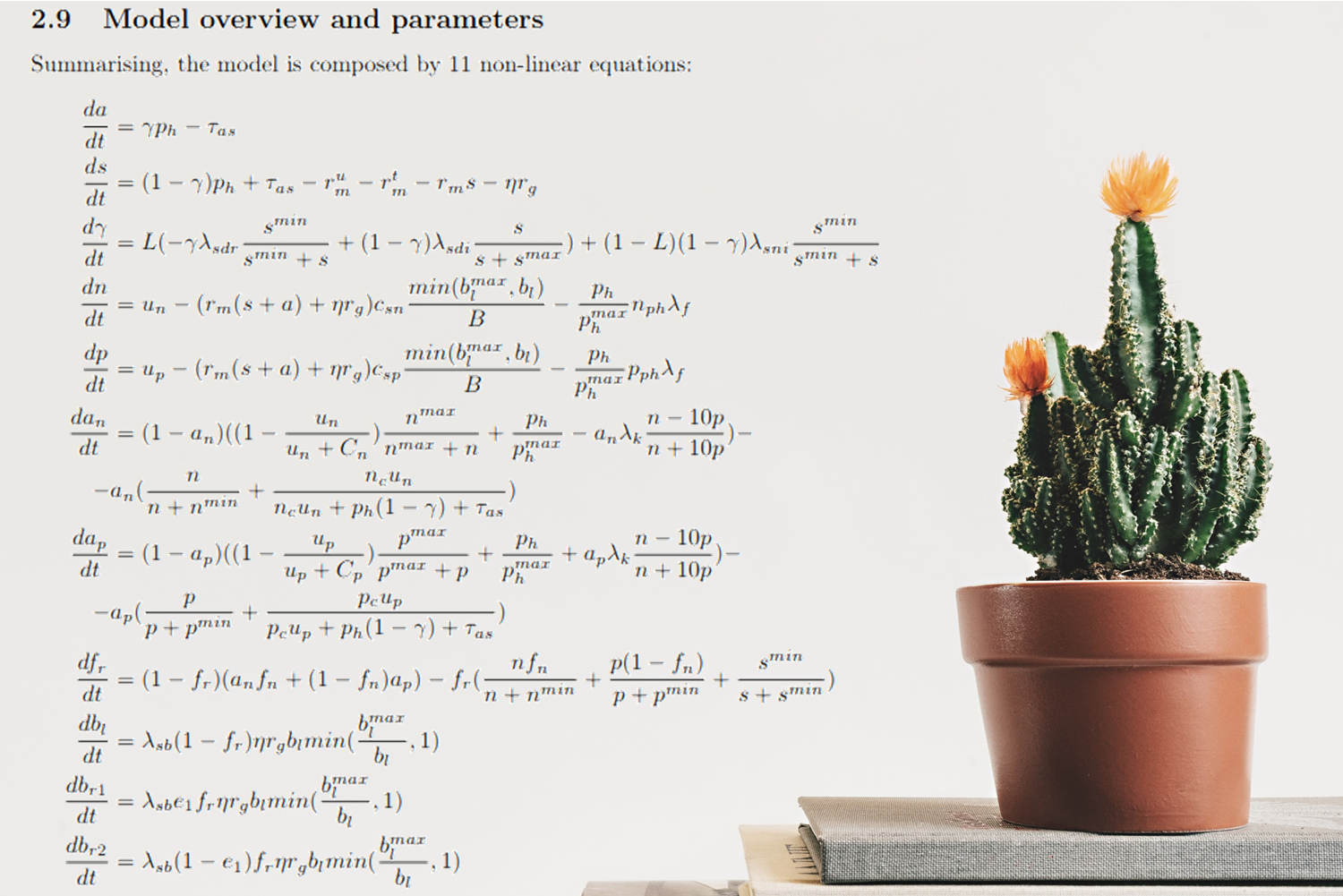 The 11 Nonlinear Equations Modeling How Plants Communicate
