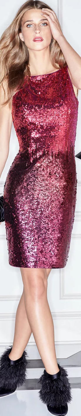 Aidan Mattox Sequin Bateau-Neck Cocktail Dress