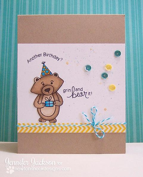 Another Birthday Bear Card by Jennifer Jackson | Winston's Birthday stamp set by Newton's Nook Designs