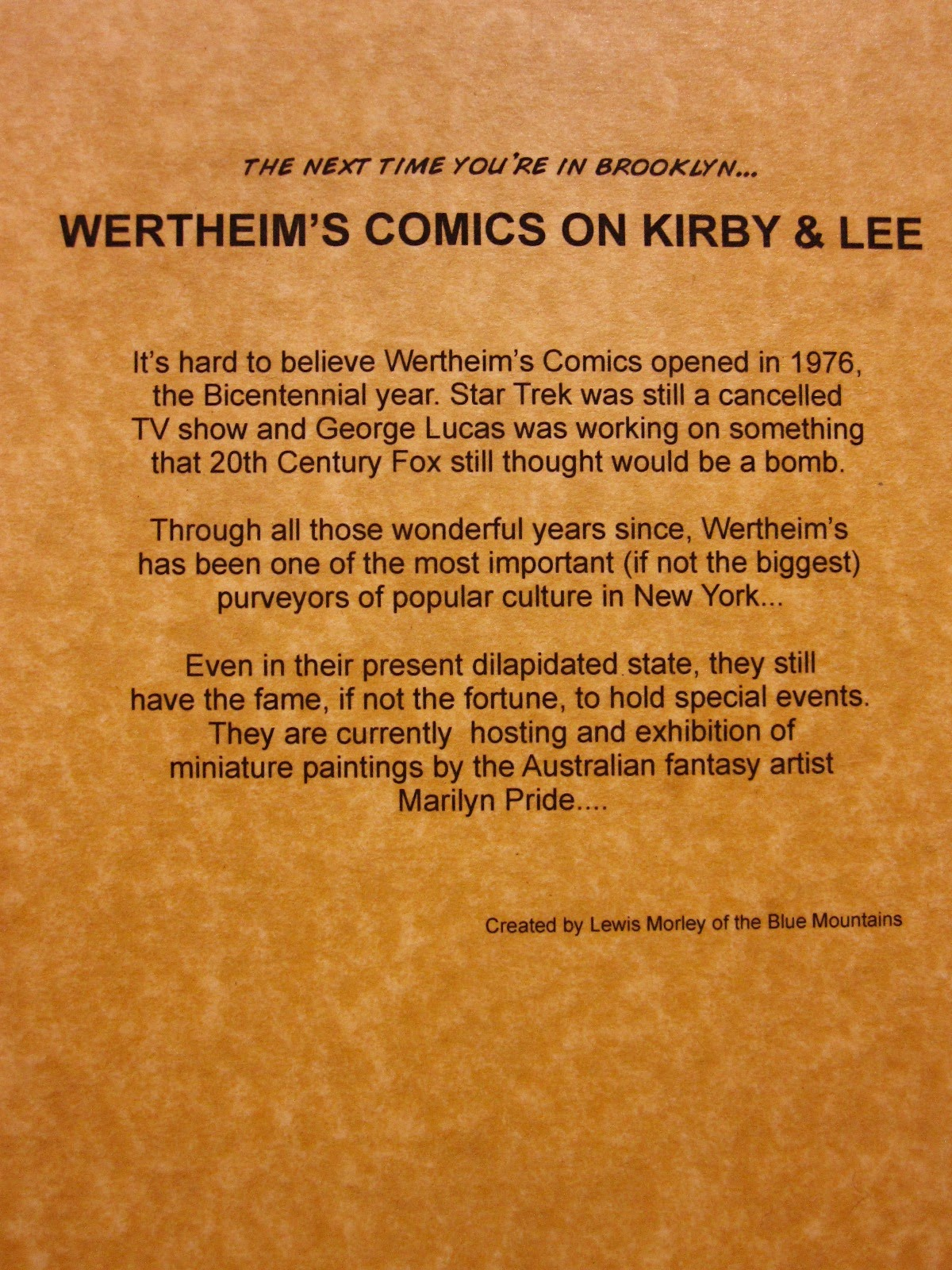 Piece of paper with the back-story to 'Wertheim's Comics on Kirby & Lee'