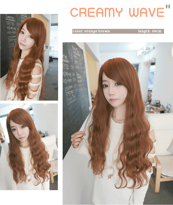 Korean Fashion Beauty Wig - Creamy Wave Color Orange Brown Model 2