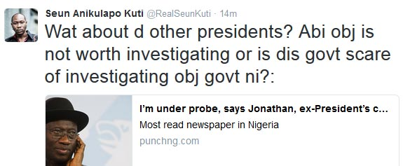 Buhari is afraid of investigating Obasanjo, Atiku? Seun Kuti asks