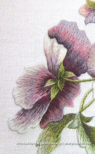 Detail of completed back facing thread painted pansy from Trish Burr's 'Victorian Pansies'