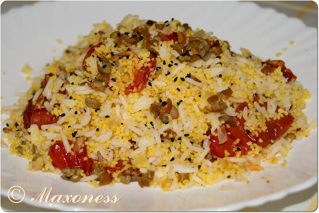 Салат из запеченных помидоров с кускусом