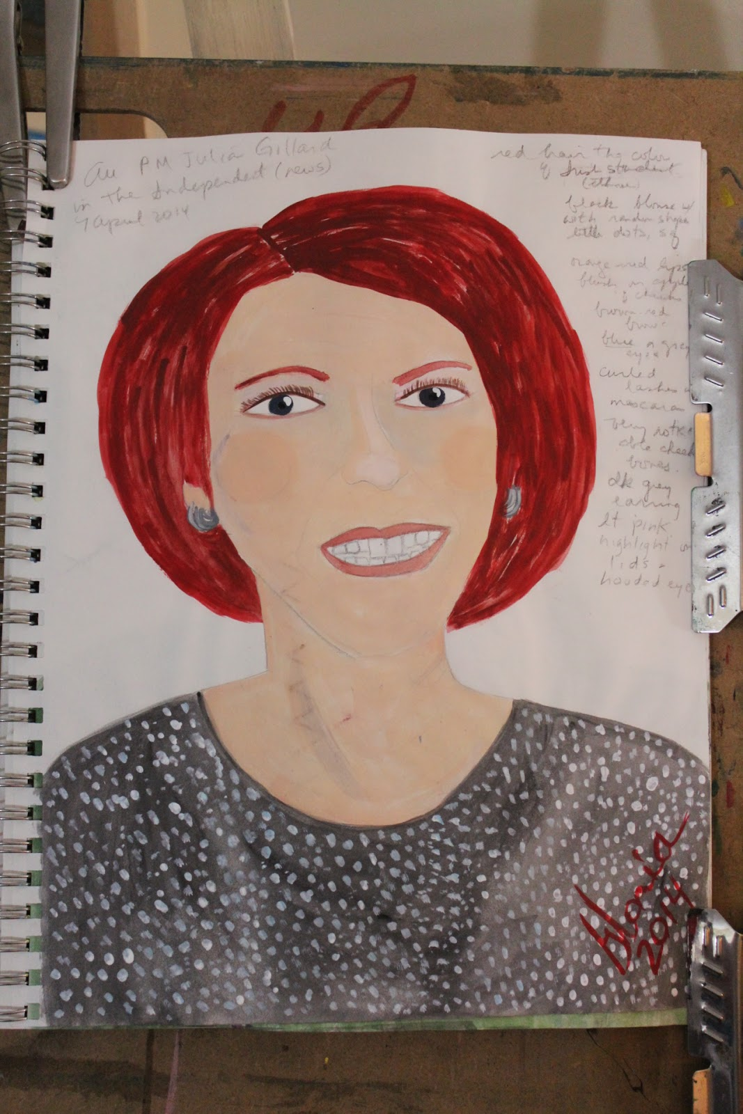 AU PM Julia Gillard sketch by Gloria Poole; 9-Apr-2014; acrylics