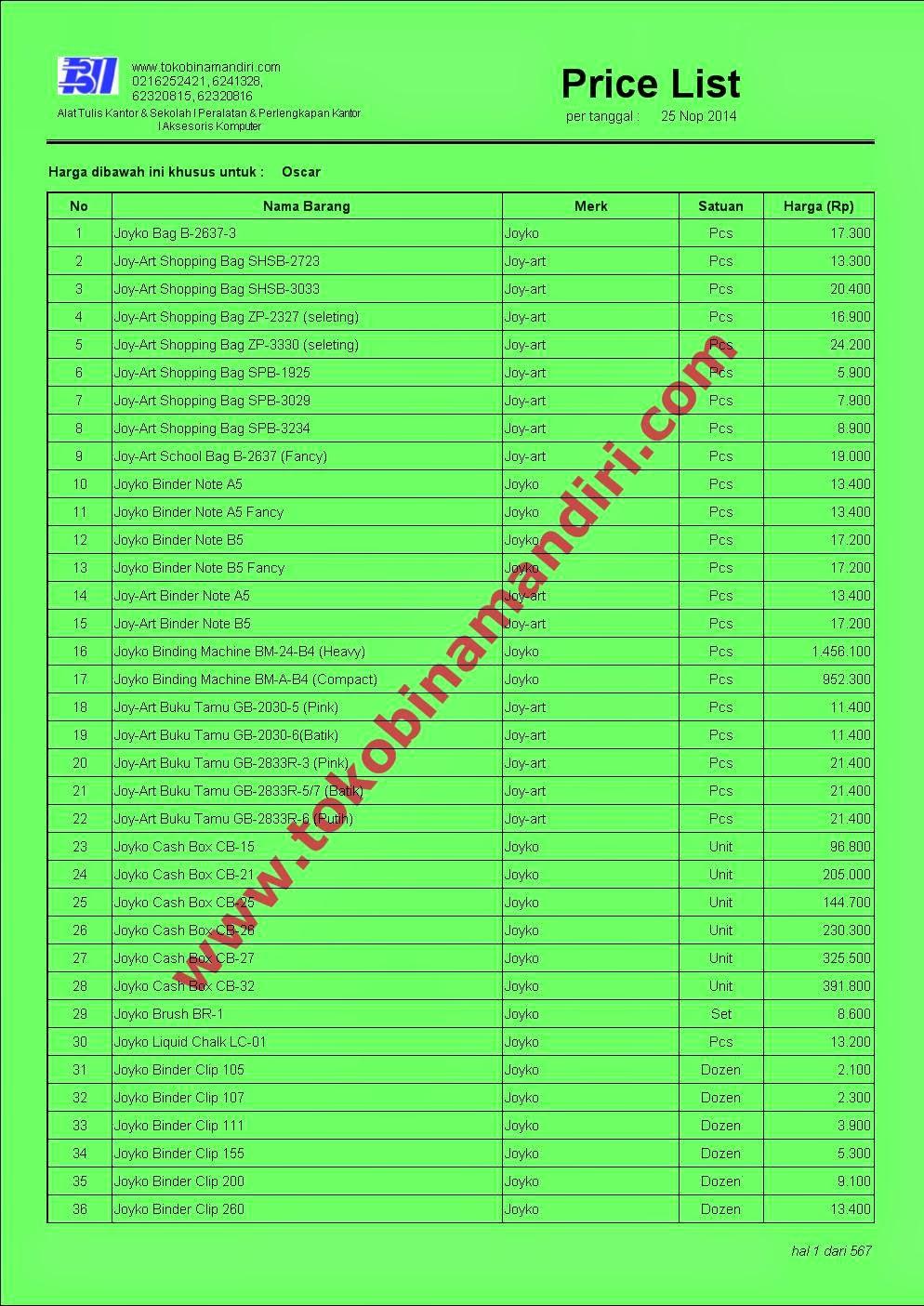 Daftar Harga ATK Joyko Binder Clip, Buku Tamu, Cashbox dll
