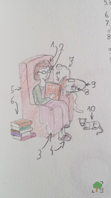 Mól książkowy w naturalnym środowisku, czytanie, literatura, czytelnictwo, książkouzależnienie, rysunek